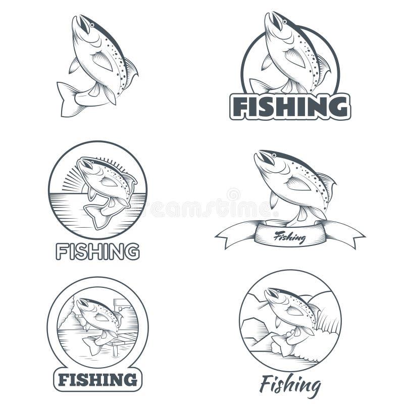 套鳟鱼横幅 库存例证