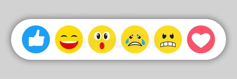 套黄色意思号和emojis 库存例证