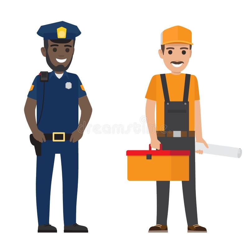 套黑人警察和平Whiskered的建造者 皇族释放例证