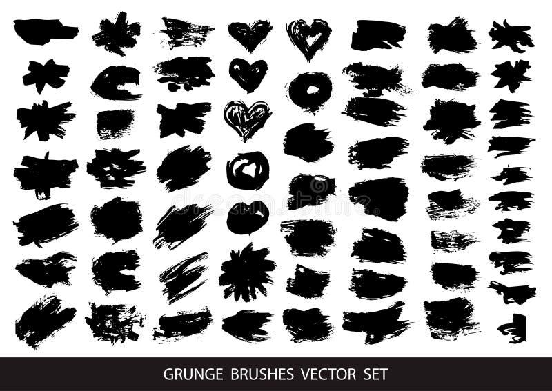 套黑油漆,墨水黑油漆,墨水刷子冲程,刷子,线刷子strokeSet  肮脏的艺术性的设计元素,箱子, 皇族释放例证