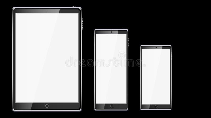 套黑现实片剂计算机流动巧妙的巧妙的手机,有在bl隔绝的光滑的空白的发光的屏幕的智能手机 向量例证