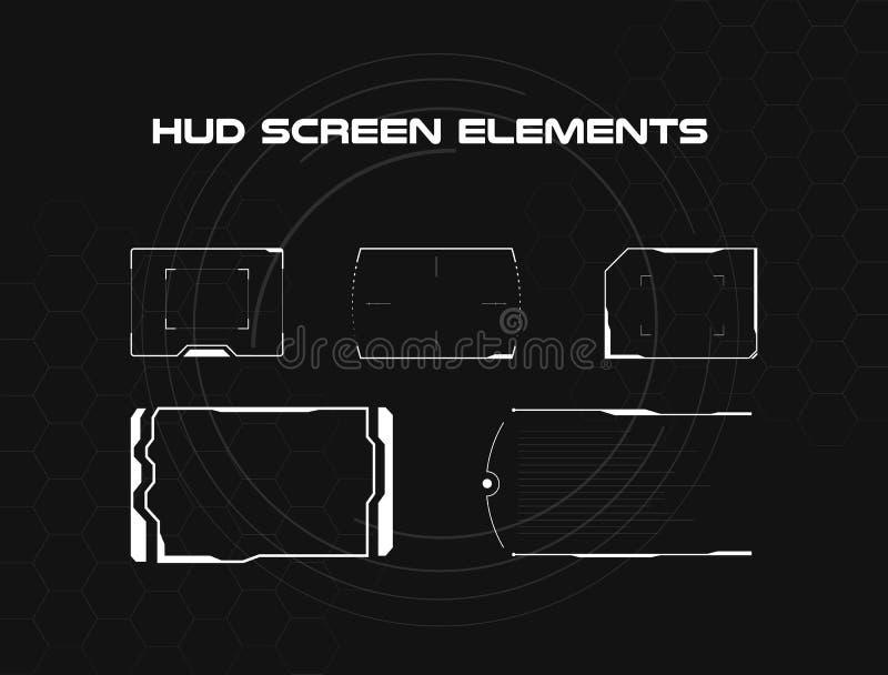套黑白hud屏幕infographic元素 网和app的平视显示的显示元件 未来派用户 皇族释放例证
