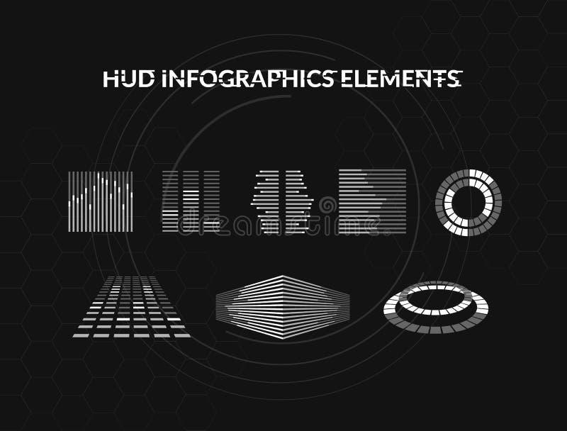 套黑白hud infographic元素 网和app的平视显示的显示元件 未来派用户界面 皇族释放例证