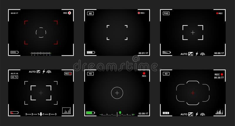 套黑白slr数字照相机反光镜 记录录影快照摄影 照相机后面和焦点框架视图 现代 库存例证