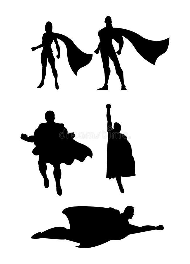 套黑超级英雄剪影 库存例证