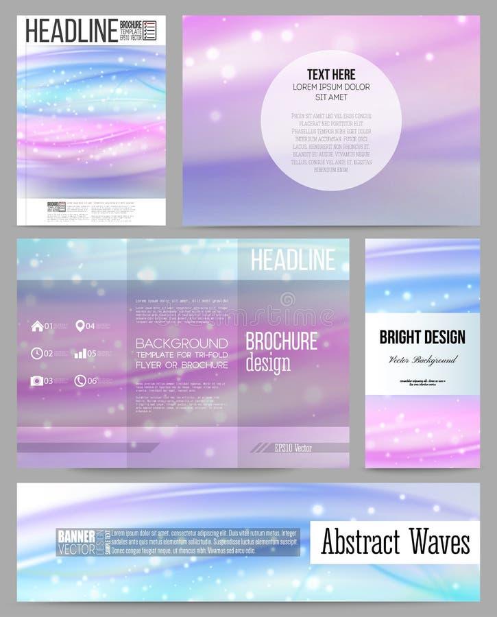 套介绍、小册子、飞行物、横幅或者小册子的企业模板 抽象波向量背景 库存例证