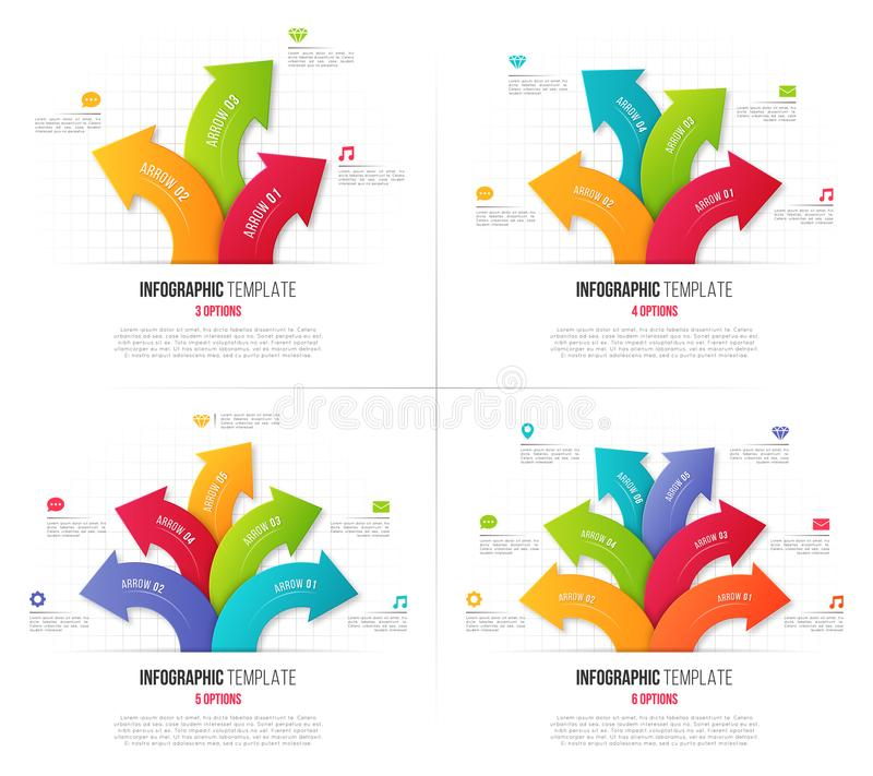 套3-6与分支的圆箭头的选择infographics 皇族释放例证