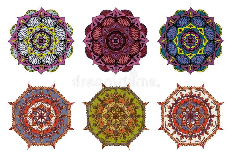 套6个传染媒介五颜六色的手拉的坛场 库存例证