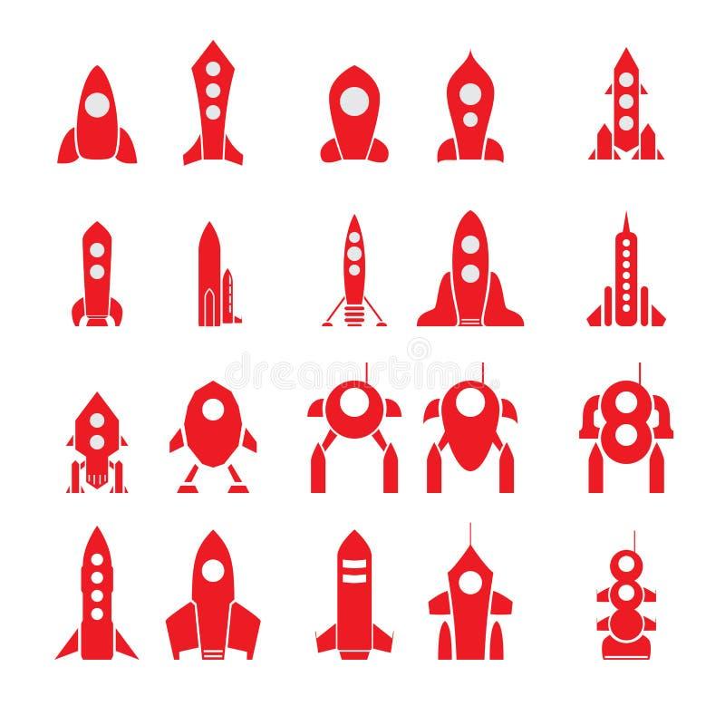 套20个传染媒介动画片火箭剪影 库存例证