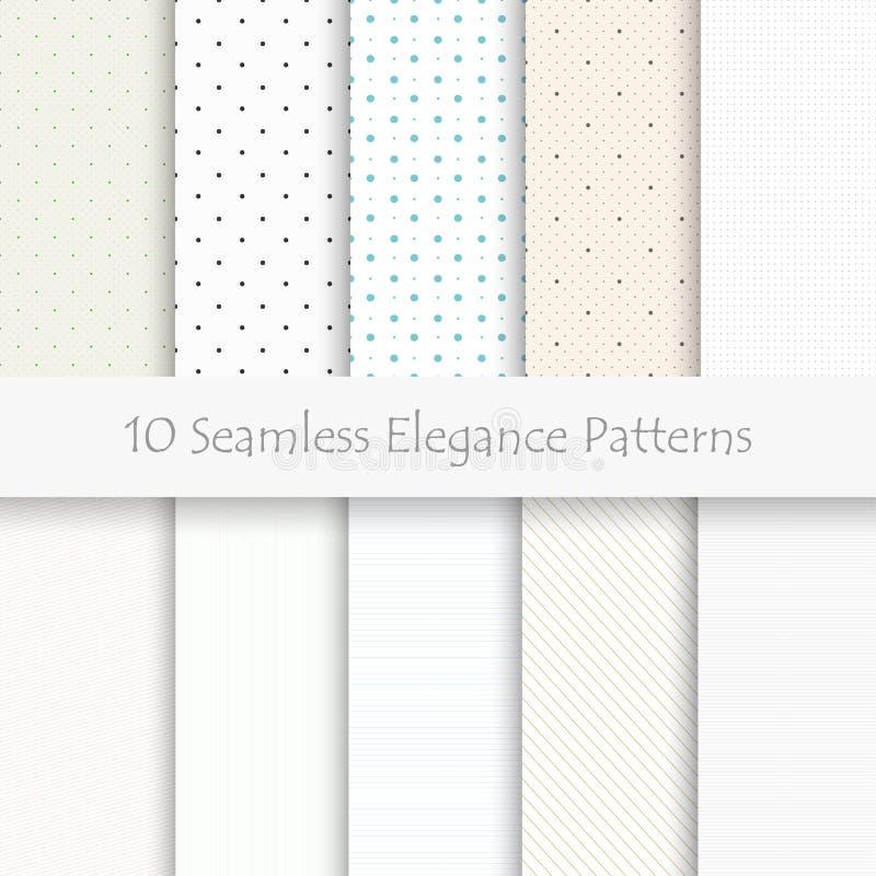 套10个无缝的高雅样式,淡色, eps10 库存例证