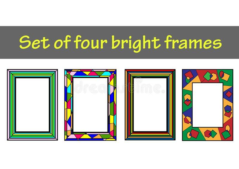 套4个明亮的框架 库存例证