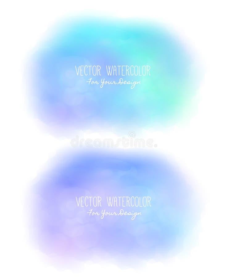 套2个明亮的污点 冒充的水彩 绘纹理 五颜六色的涂抹 它可以使用作为背景为文本 向量例证