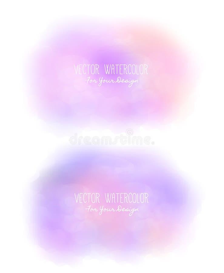 套2个明亮的污点 冒充的水彩 绘纹理 五颜六色的涂抹 它可以使用作为背景为文本 皇族释放例证