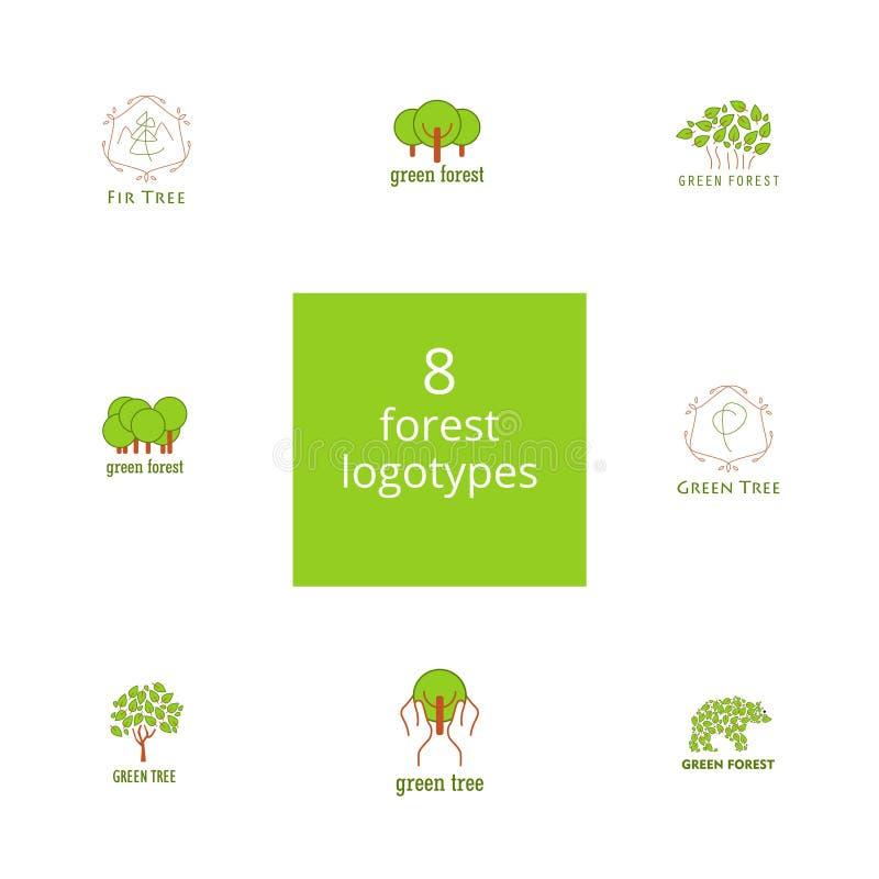 套8个树和森林商标 皇族释放例证