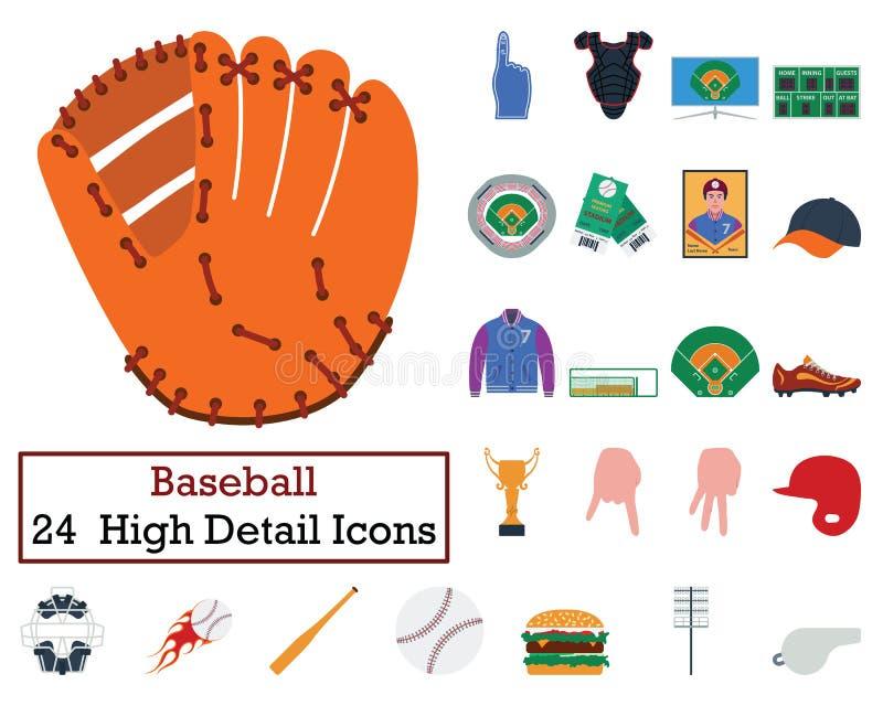套24个棒球象 库存例证