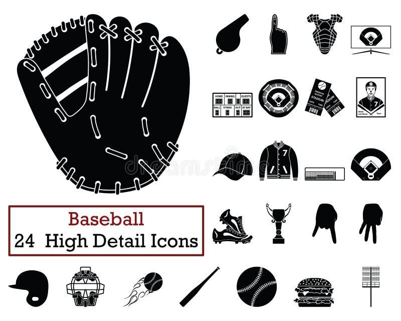 套24个棒球象 向量例证