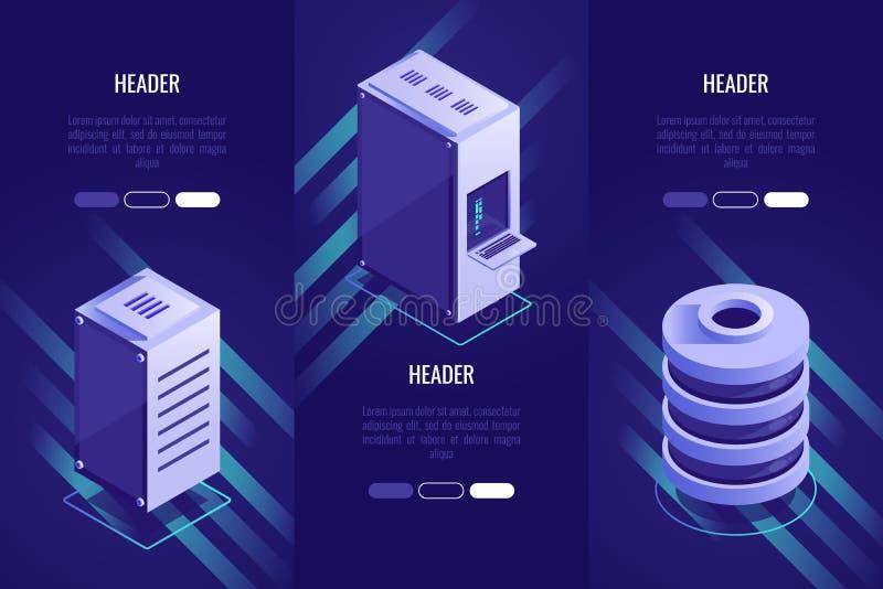 套3个概念性标题 数据存储和网络主持 覆盖沟通的计算机计算的概念膝上型计算机被找出的资源 3D等量样式 库存例证