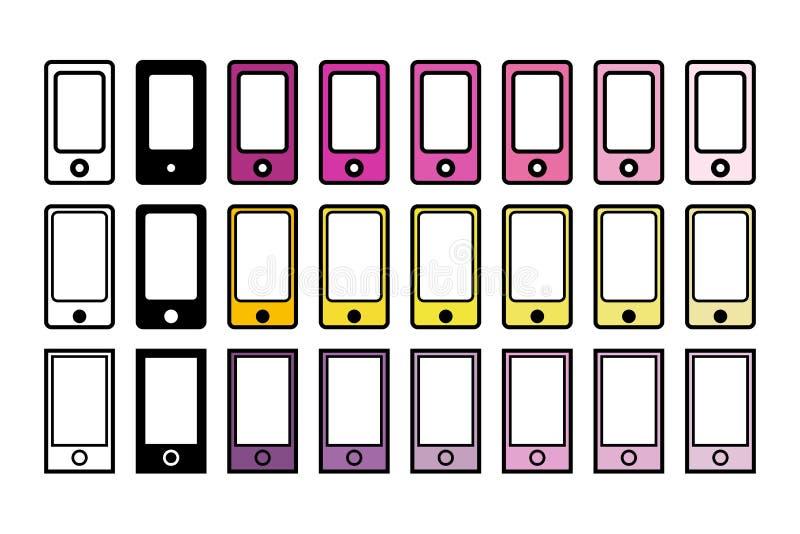 套24个电话用不同的颜色 皇族释放例证