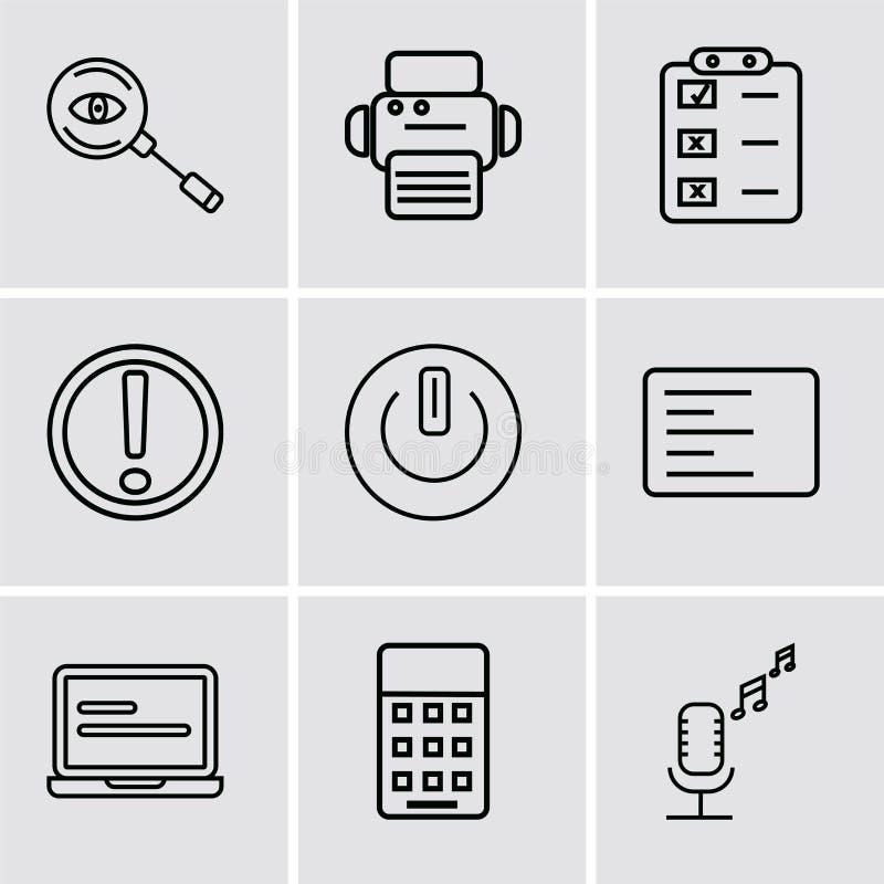 套9个简单的编辑可能的象例如广播话筒,计算器,膝上型计算机前面显示器,左边对准线,按钮  库存例证