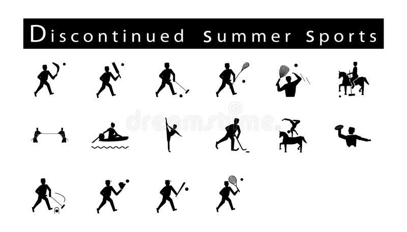 套16个被中断的夏天体育象 库存例证