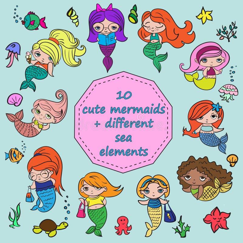 套10个逗人喜爱的美人鱼+不同的海元素 库存图片
