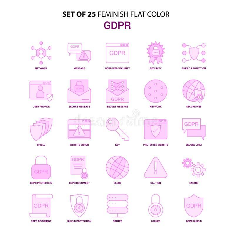 套25个Feminish GDPR平的颜色桃红色象集合 皇族释放例证