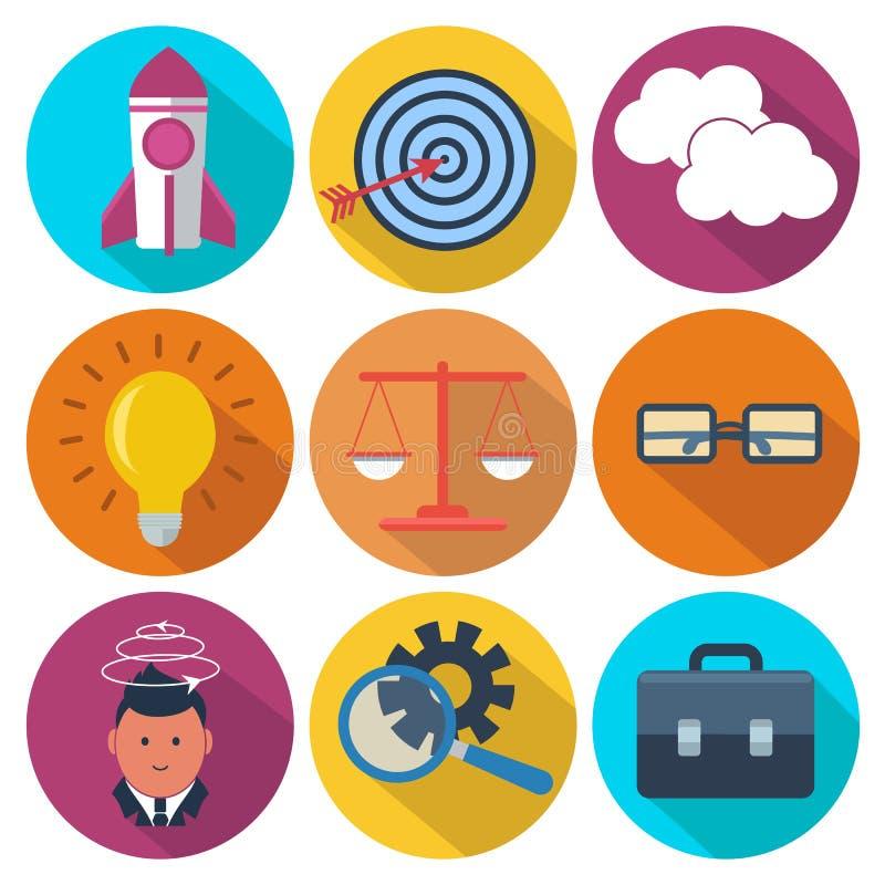 套9事务,销售的五颜六色的圆的象 库存例证