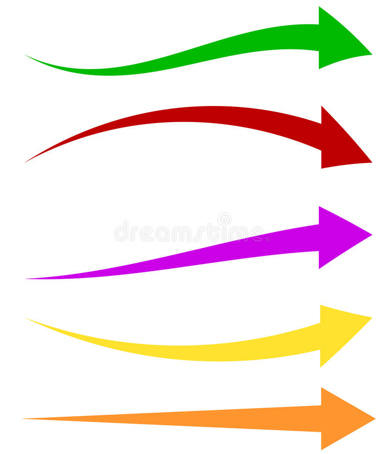 套5五颜六色的箭头形状 长,水平的箭头 皇族释放例证