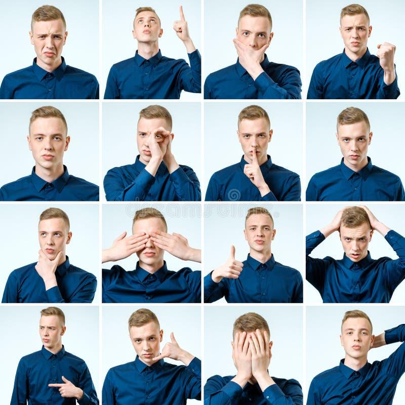 套年轻人用不同的情感的` s画象 免版税图库摄影