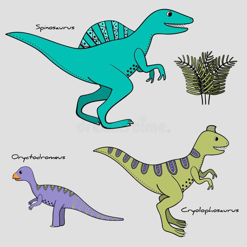 套3传统化了与名字,种族绘画的恐龙 向量例证