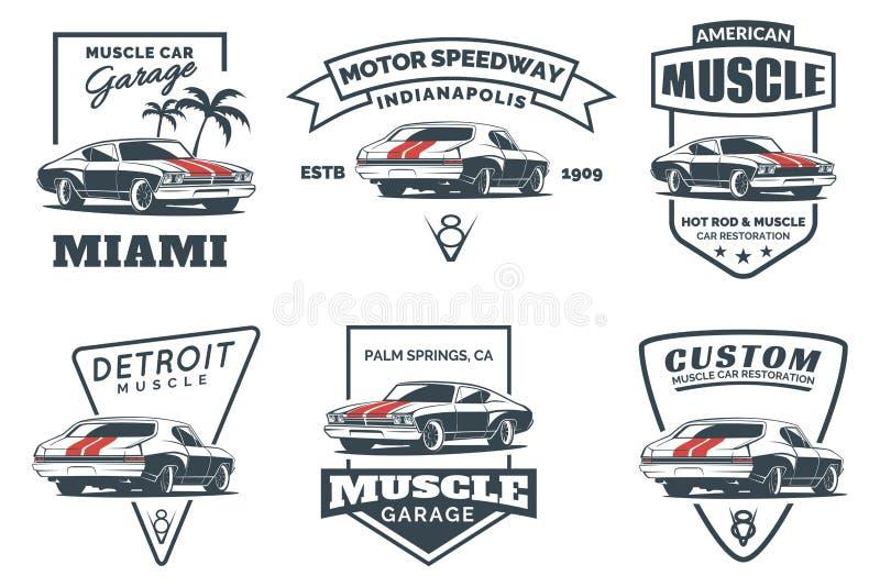 套经典肌肉汽车商标、象征、徽章和象 向量例证