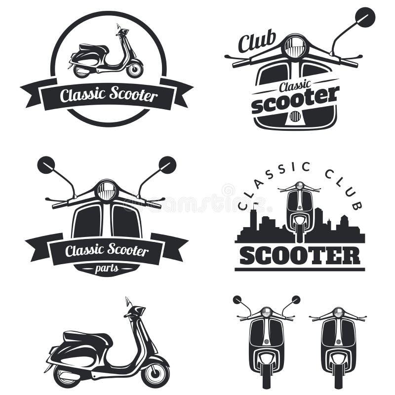 套经典滑行车象征、象和徽章 都市,街道 库存例证