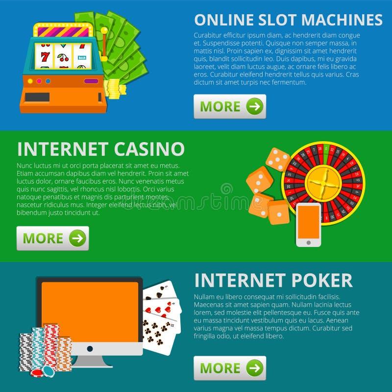 套3副网上赌博的横幅 老虎机,赌博娱乐场,啤牌 传染媒介概念例证 免版税库存照片