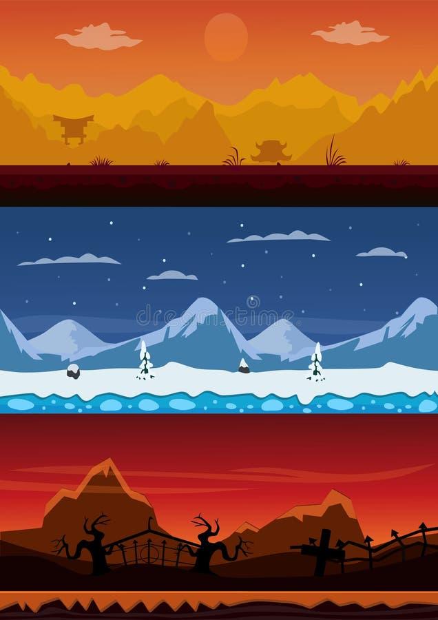 套3动画片背景 中国山、冬天山和公墓 皇族释放例证