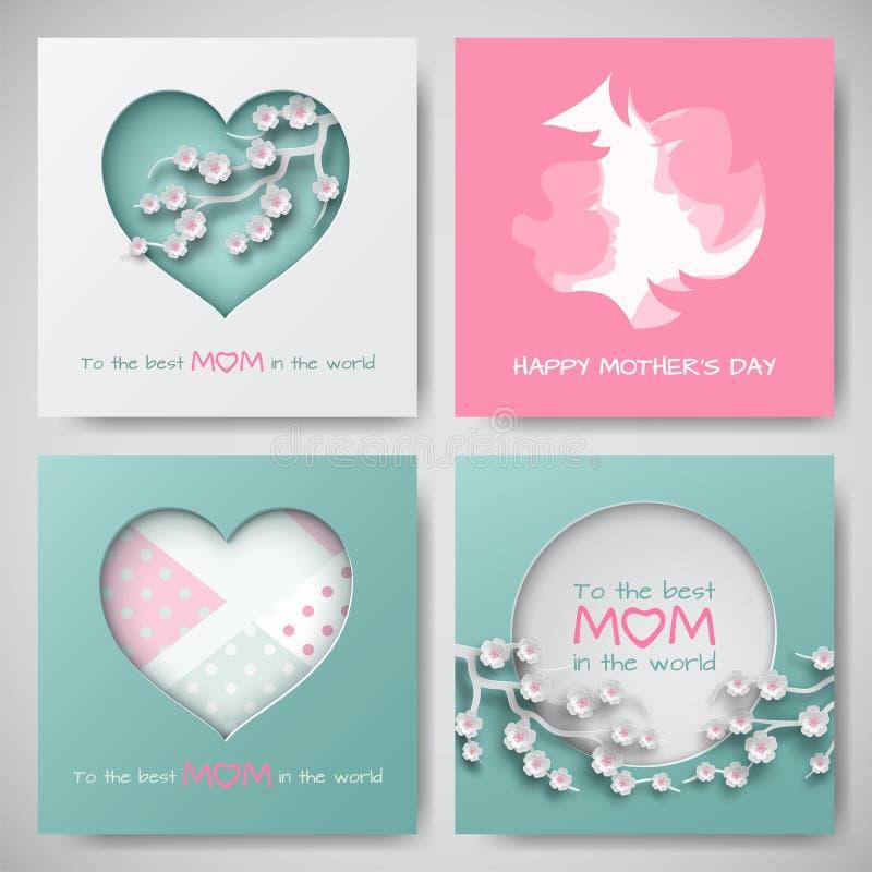 套贺卡为母亲` s天 妇女和婴孩剪影、cuted圈子和心脏装饰了樱桃花 皇族释放例证