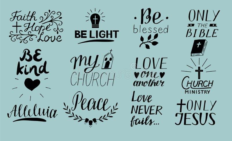 套12只手字法基督徒引述只有耶稣 爱 教会部 哈利路亚 是光 书目 信念,希望 P 库存例证