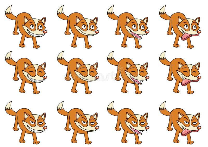 套12只逗人喜爱的动画片狐狸 向量例证