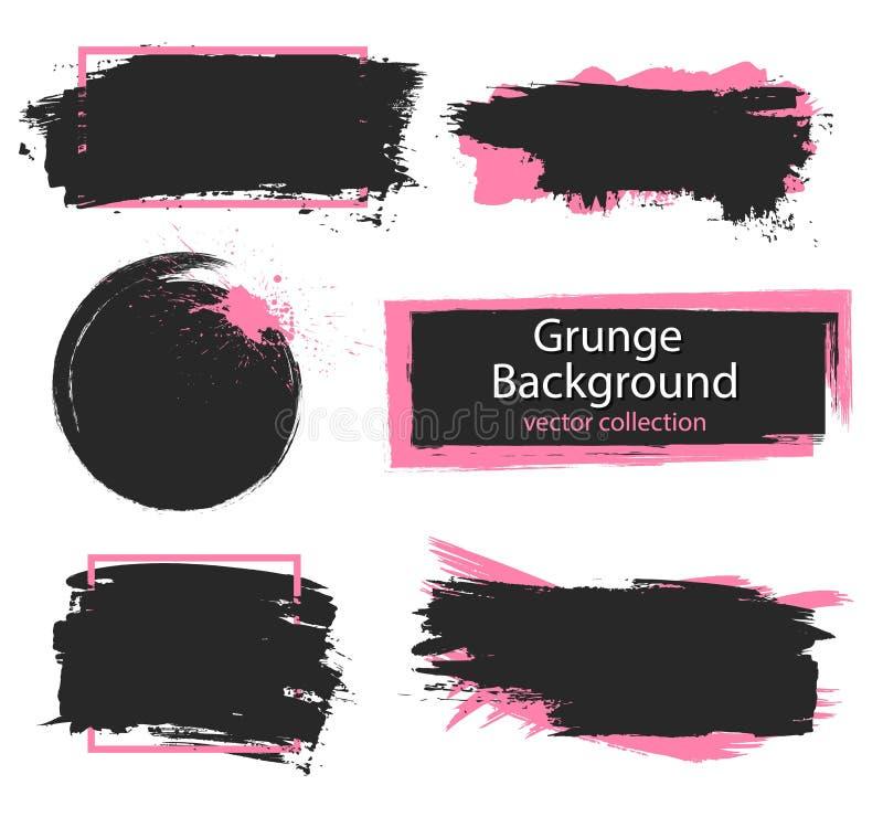 套黑和桃红色油漆,墨水刷子冲程,刷子,线 肮脏的艺术性的设计元素,箱子,文本的框架 皇族释放例证
