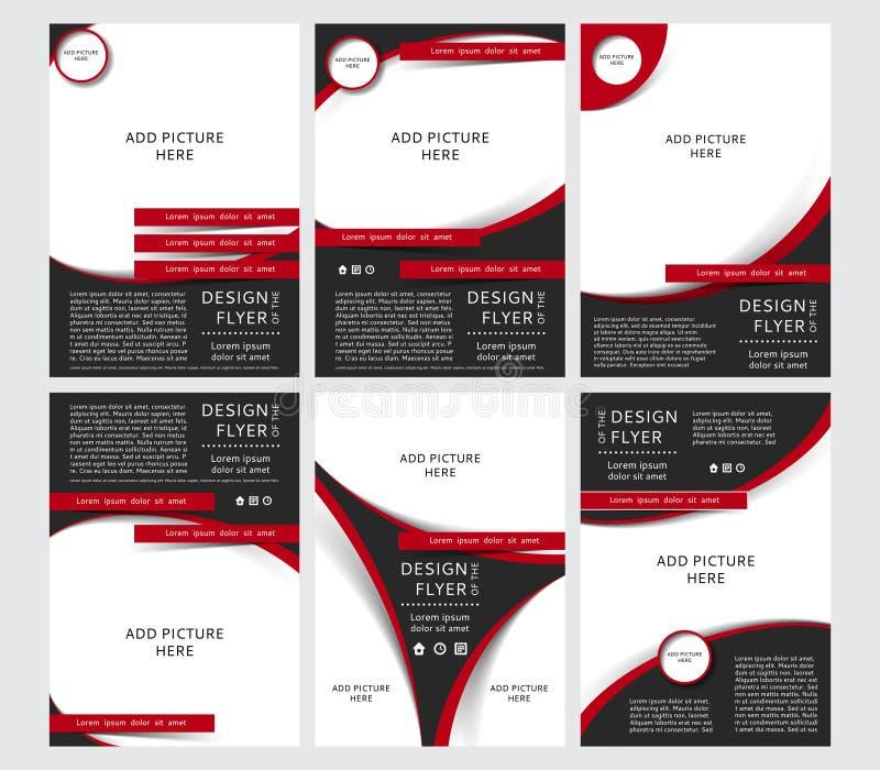 套黑和红色飞行物,盖子,小册子,海报,与地方的报告的传染媒介设计图片的 向量例证