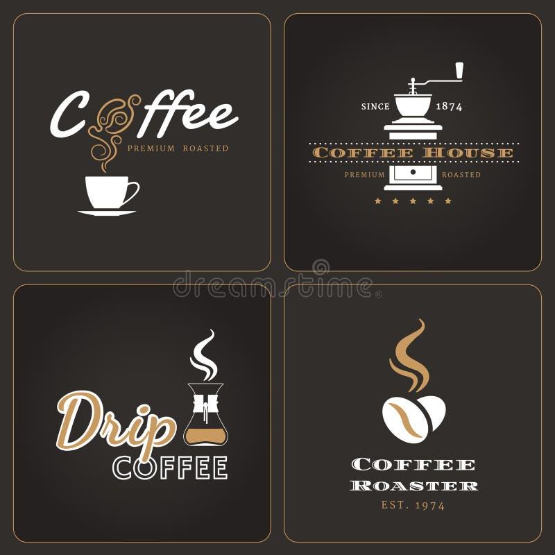 套滴水咖啡店证章和标签 皇族释放例证