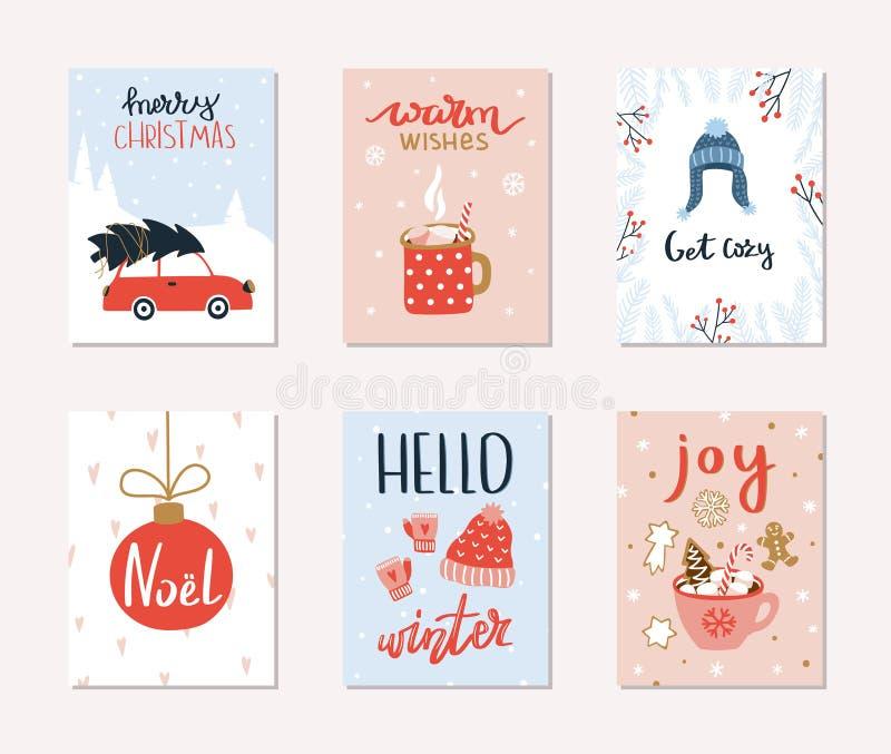 套6圣诞快乐和新年快乐礼品券 向量例证