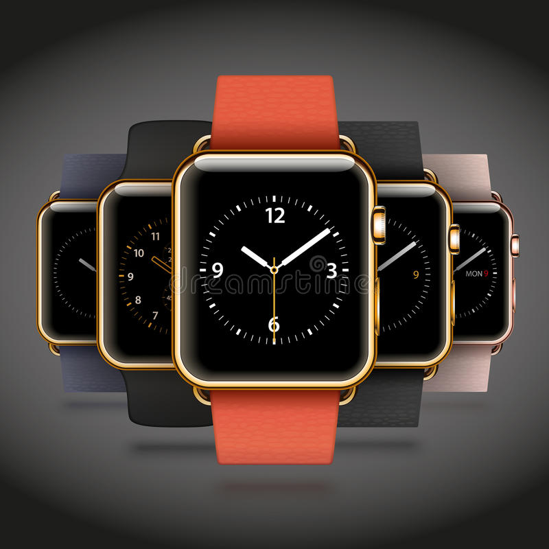 套5块编辑现代发光的金黄巧妙的手表 向量例证