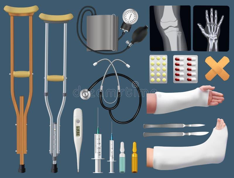 套医学外科外伤学对象 骨折的治疗 涂灰泥藤条、拐杖、X-射线、胳膊和腿在膏药s 库存例证
