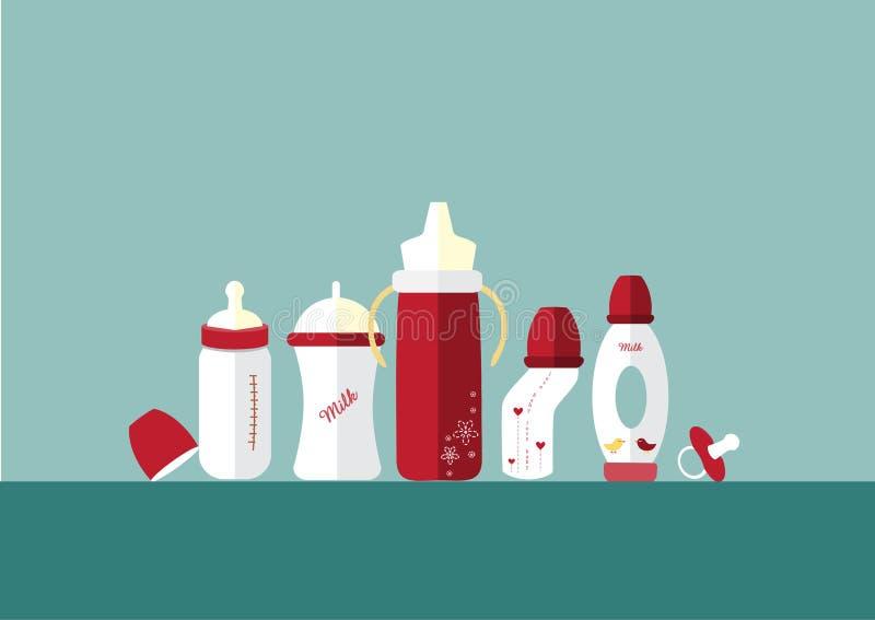 套婴孩牛奶瓶和安慰者,传染媒介例证 库存例证