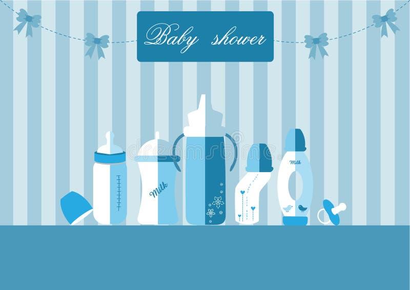 套婴孩牛奶瓶和安慰者,婴儿送礼会卡片的,传染媒介例证设计 向量例证