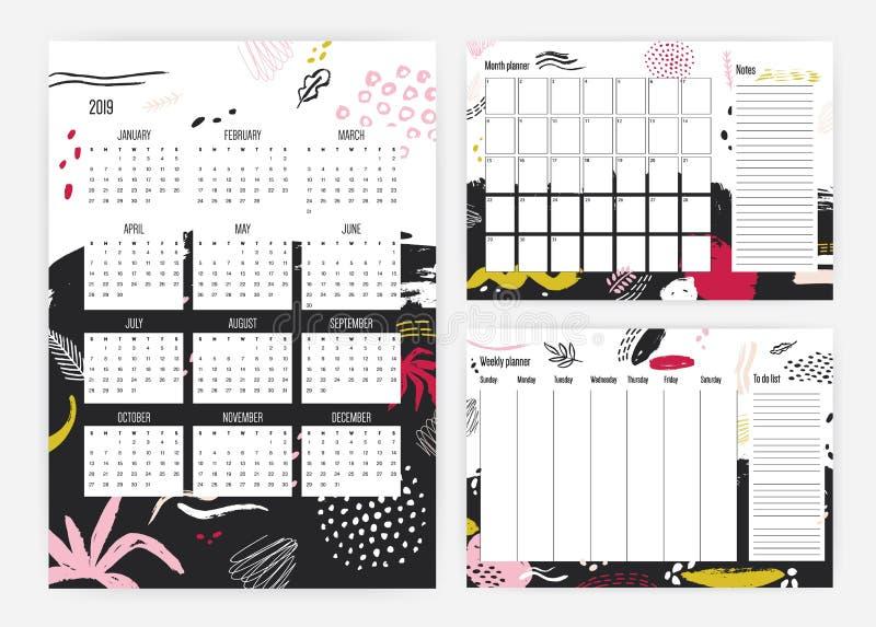 套2019年日历,月度和每周计划者模板,笔记和做用艺术性的杂文装饰的名单 皇族释放例证