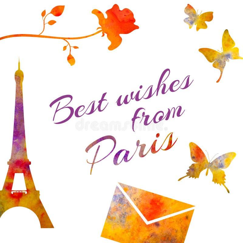 巴黎 套水彩对象 塔,上升了,在上写字,信封等 库存例证