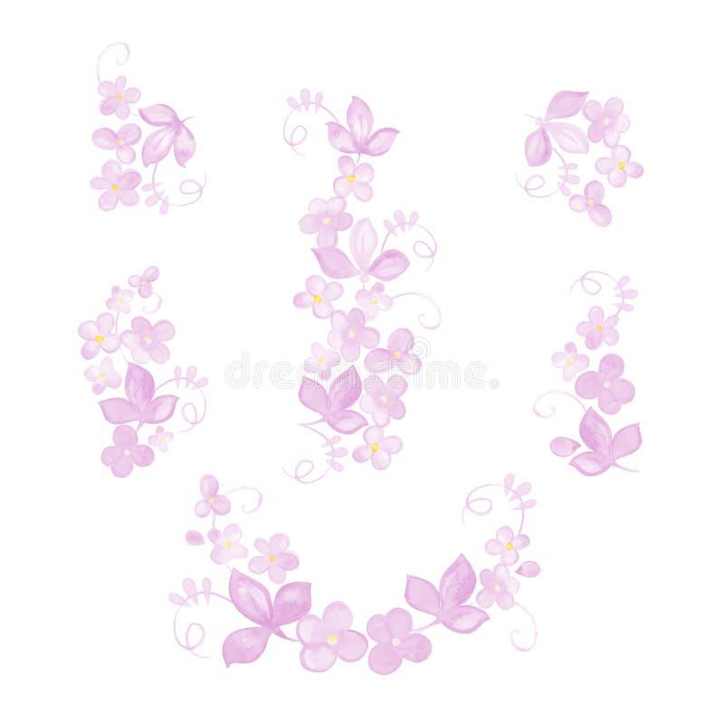 套水彩开花,分支,叶子 设计的手画元素 皇族释放例证