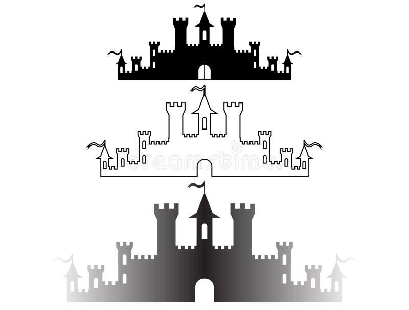 套幻想防御设计的剪影 向量 皇族释放例证