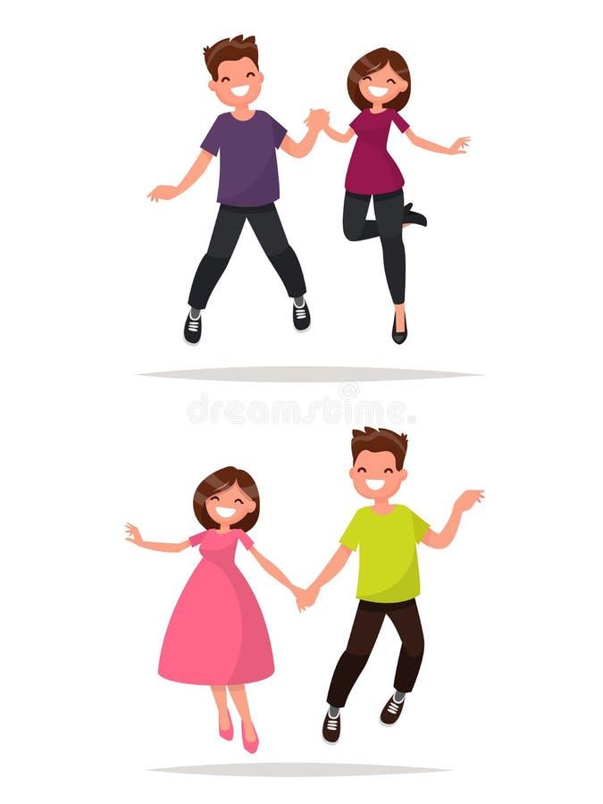 套年轻愉快的夫妇跳跃 男人和妇女是rejo 库存例证